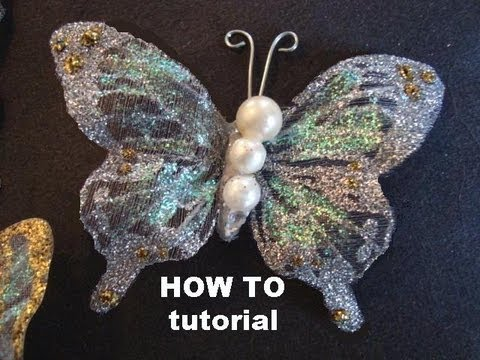 GLITTERED BUTTERFLIES ON FABRIC TUTORIAL how to diy embellishments trim hair clips brooches