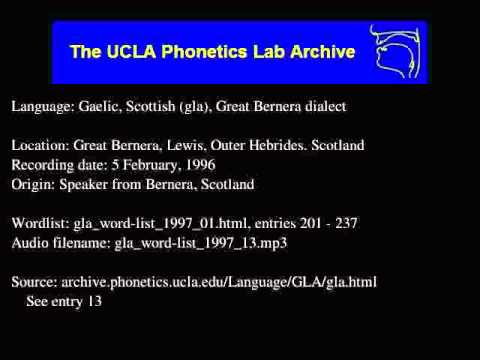 Gaelic, Scottish audio: gla_word-list_1997_13
