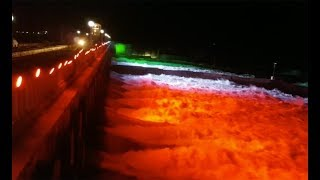 Karnataka: Water flows from KRS dam in Mandya with colourful illumination - TIMESOFINDIACHANNEL