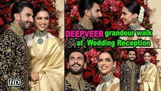 Deepika- Ranveer grandeur walk at Wedding Reception - IANSLIVE