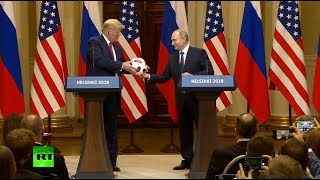 'Now the ball is in your court': Putin hands over World Cup ball to Trump during presser - RUSSIATODAY