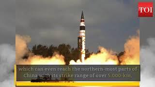 India test-fires nuclear-capable ICBM Agni-V - TIMESOFINDIACHANNEL