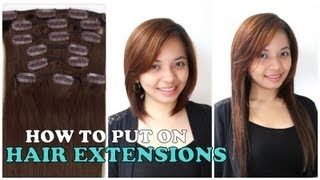How to put on hair extensions tutorial review youtube pmusecretfo Images