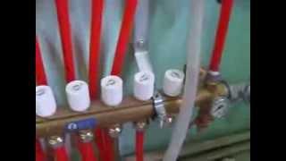 Монтаж теплого пола: гидравлические испытания системы перед заливкой труб бетоном