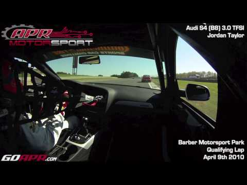 Jordan Taylor behind the wheel of the APR Motorsport Audi B8 S4 at Barber Motorsport Park
