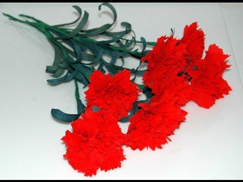Kwiaty z bibuły. Modny goździk. Krok po kroku DIY