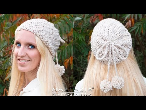 DIY Tutorial - How to Crochet Soft Twist Hat - Slouchy Hat with Pom Poms