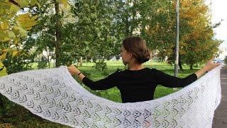 Вязание спицами:простой, ажурный палантин из мохера.Seam angora fine ,мое мнение о пряже.