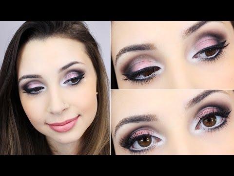 Tutorial de maquiagem usando sombra rosa