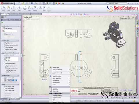 Isometric Section View and 3D Drawing View in SolidWorks
