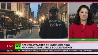 Police officer stabbed by a knife-wielding man in Brussels - RUSSIATODAY