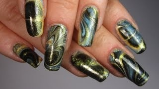 Gold, Black & Metallic Blue Water Marble Design Nail Art Tutorial