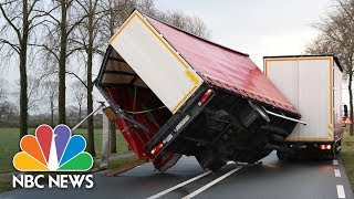 Deadly Storm Makes Crossing The Street A Battle In The Netherlands | NBC News - NBCNEWS