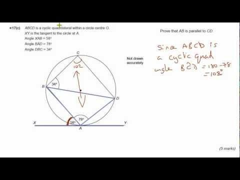 GCSE Maths revision Exam practice circle theorems - Alternate segment theorem & Cyclic quad