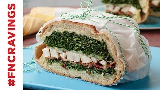 Brick-Pressed Chicken and Kale Caesar Sandwich | Food Network - FOODNETWORKTV
