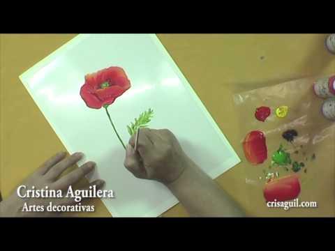 Pintar flores , amapolas , painting poppies