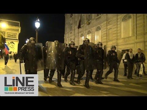 Nombreux incidents Champs Elysées. Qualif. mondial 2014 France et Algérie / Paris 19 novembre 2013