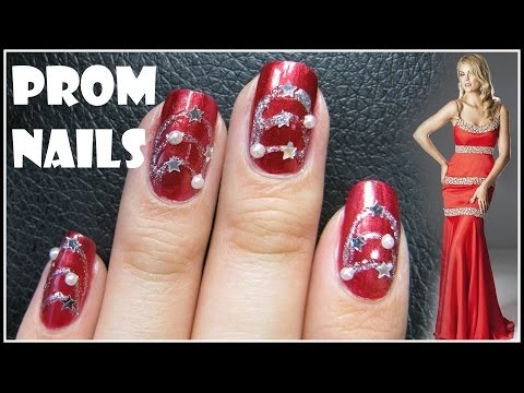 EASY PROM NAIL DESIGN | RED FORMAL NAIL ART TUTORIAL DECAL BEGINNER SIMPLE NECKLACE