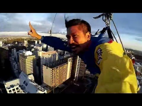 Base jumping from New Zealand's tallest building