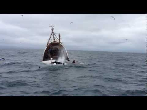 incredible video prawn trawler sinks in cold Irish sea