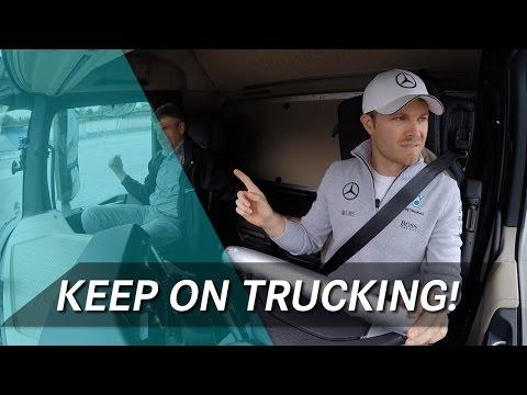 Видео: Росберг, Хюлькенберг и Верляйн за рулём фуры Mercedes Actros