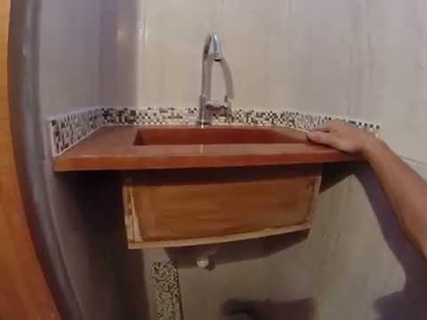 lavatorio em madeira reciclada