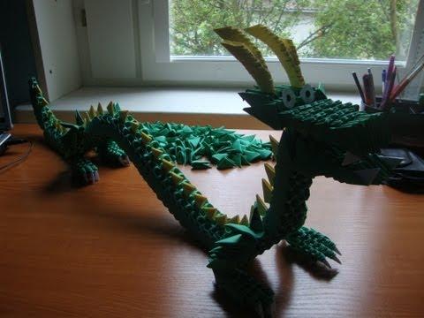 Сборка павлина из модулей оригами схема
