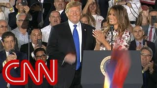 Trump, Melania greeted with Venezuelan flags, USA chants - CNN