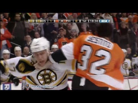 Milan Lucic vs Tom Sestito Jan 22, 2012