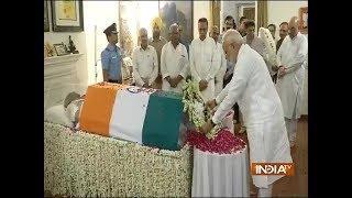 PM Modi pays tribute to former PM Atal Bihari Vajpayee at the latter's residence in Delhi - INDIATV