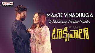 Maate Vinadhuga Whatsapp Status Video || Taxiwaala Movie || Vijay Deverakonda || Sid Sriram - ADITYAMUSIC