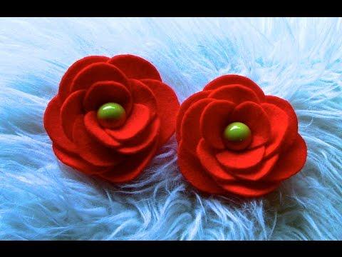 Flor em Feltro com Circulos Passo a Passo