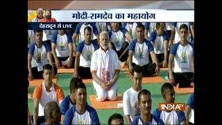 International Yoga Day: PM Modi performs Yoga at FRI, Dehradun - INDIATV