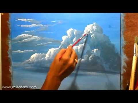 How to paint clouds in acrylic instructional painting for Painting on water tutorial