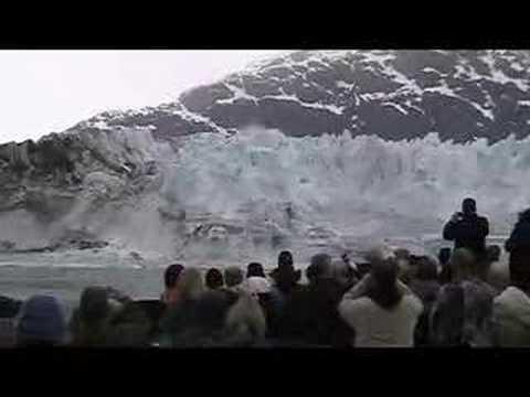 Huge Wave Glacier Calving Glacier Bay Alaska