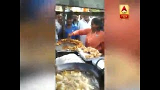 Sadhvi Niranjan Jyoti cooks chaat at a food stall in Fatehpur - ABPNEWSTV