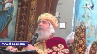 بالفيديو والصور.. مطران بني سويف في عظة العيد: الله يرعى كل البشر حتى الأشرار منهم