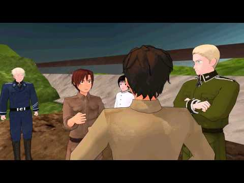 [MMDxAPH] Spain and Romano cheat at gambling (fight scene)