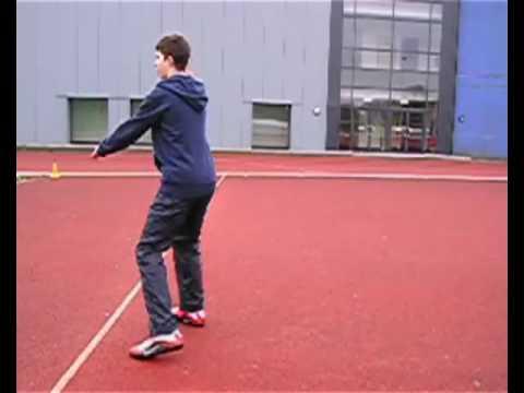 Rotational shot put drills set 3 drill 3 - turn to knee with softball