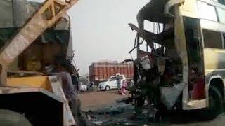 10 killed  20 injured after bus truck collision in MP s Guna - TIMESOFINDIACHANNEL