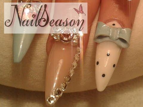 Acrylic nails tutorial / How to make 3D bow nail art / bun step by step 2015