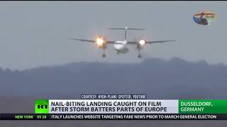 Plane buffeted by gusts of wind in harrowing landing - RUSSIATODAY