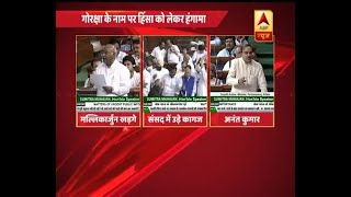 Lok Sabha: Hue and cry over 'violence in the name of Gauraksha'; Papers thrown at speaker - ABPNEWSTV