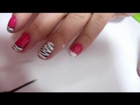 decoração especial unhas curtas :zebra rosa