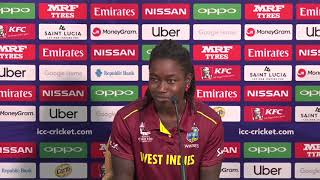Windies player Deandra Dottin speaks with  the media at post match press-conference - CRICKETWORLDMEDIA