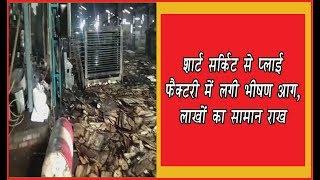 video : शार्ट सर्किट से प्लाई फैक्टरी में लगी आग से लाखों की मशीनरी व सामान जलकर राख