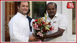 HD Kumaraswamy Meets Rahul And Sonia Gandhi, Invites Them For Oath Taking Ceremony | 100 Khabar - AAJTAKTV