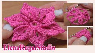 Crochet 3D Flower Pattern Урок 46 Вязаный Цветок с лепестками украшенными пико