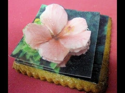 Cómo hacer una cookie con flor en 3D de oblea comestible