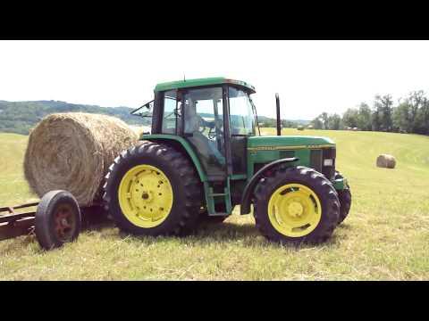 John Deere 6400 & 3020 in West Virginia Hauling Hay